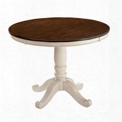 """Whitesburg D583-15 42"""" Round Dining Table With Scrolled Legs Brown Table Top Cottage Whte Base Birch Veneers And Hardwood"""