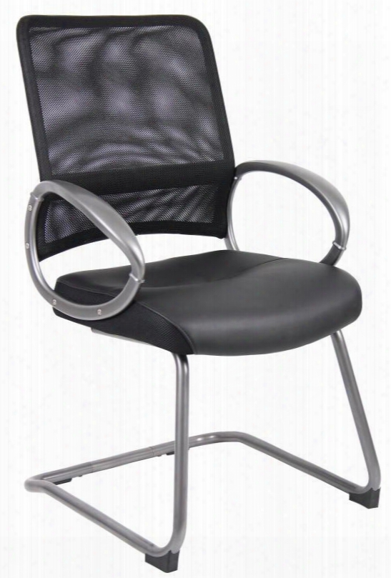 "B6409 39"" Guest Chair With Mesh Back Loop Arms And Pewter Finished Cantilever Sled Base In Upholstered In Black Leatherplus And Breathable"