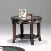 """Simpson 5524 28"""" Round End Table with Beveled Glass Top Curved Legs and Bottom Shelf in Cappuccino"""
