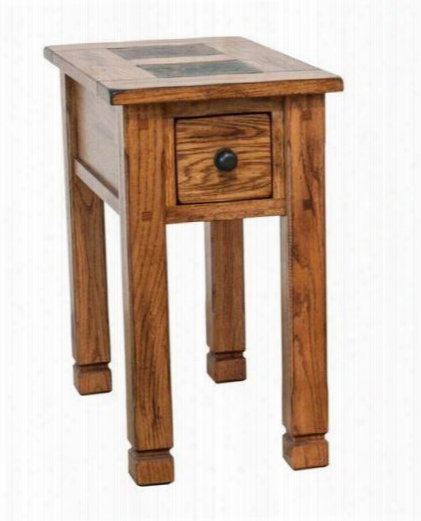 "Sedona Collection 3143ro-cs 15"" Chair Side Table With Dovetailed Drawer Natural Slate And Dented Rustic Knobs In Rustic Oak"