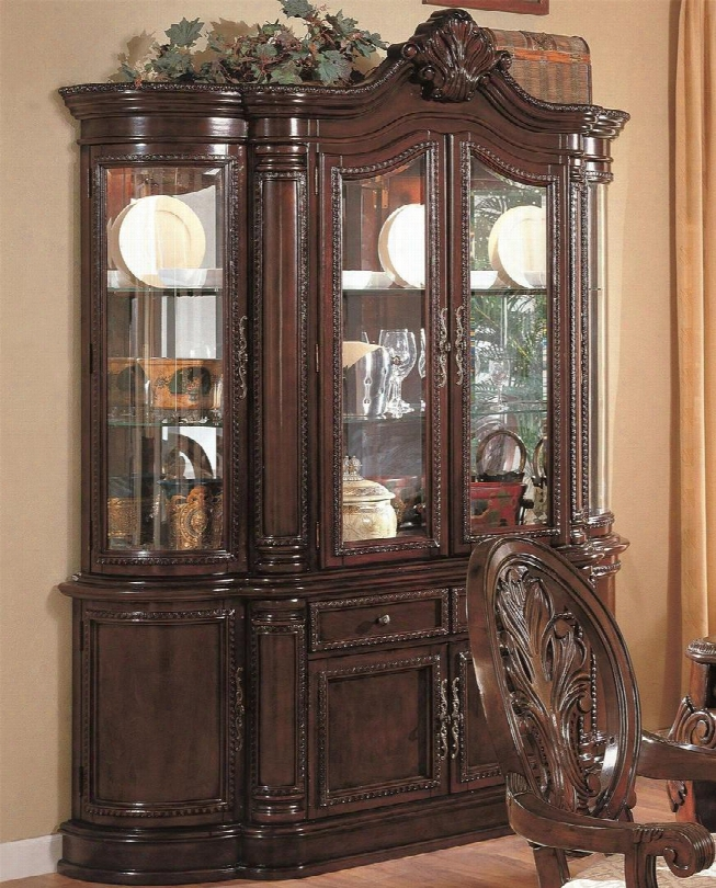 """Tabitha Collection 101034 70"""" China Cabinet With 8 Doors 2 Drwaers Touch Lighting Acanthus Leaves Carving Birch Solids And Veneers Material In Dark Cherry"""