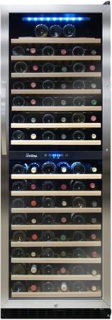 "Vt-155sbw 24"" Dual-zone Wine Cooler With 155 Bottle Capacity Touch Screen Clntrol Panel Blue Led Interior Light Security Lockset 15 Pull Out Wood Shelves"