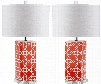 Set of Two Quatrefoil Table Lamps in Orange design by Safavieh