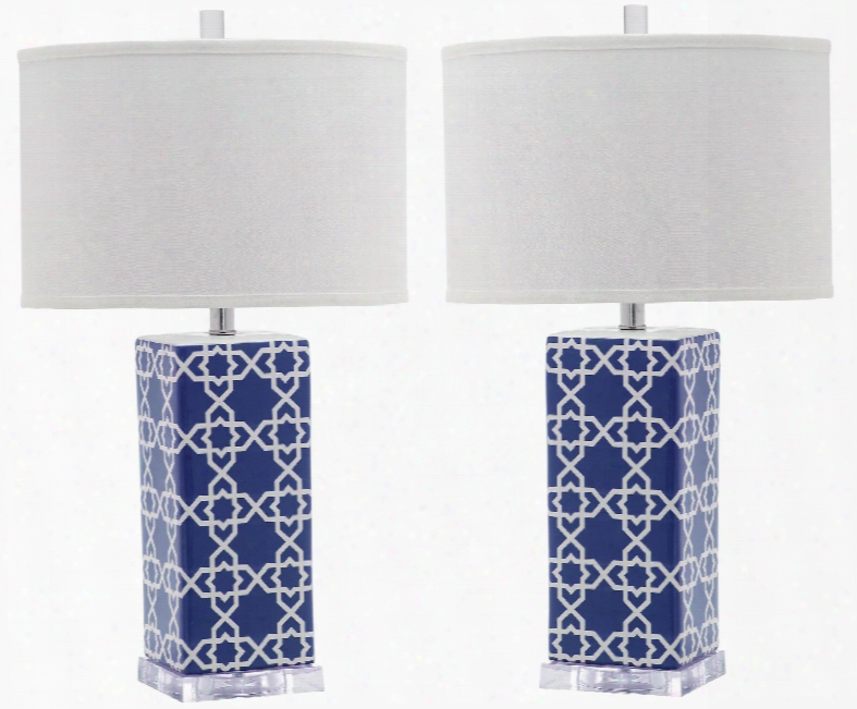 Set Of Two Quatrefoil Table Lamps In Ships Of War Design By Safavieh