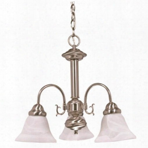 Nuvoã'â® Bal Lerina Transitional Chandelier, Bushed Nickel, 20x17, Uses 3 60-watt Medium Base Bulbs (not Included) 102641