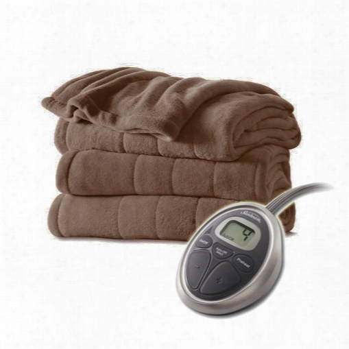 Sunbeam Channeled Velvet Plush Electric Heated Blanket Twin Cocoa