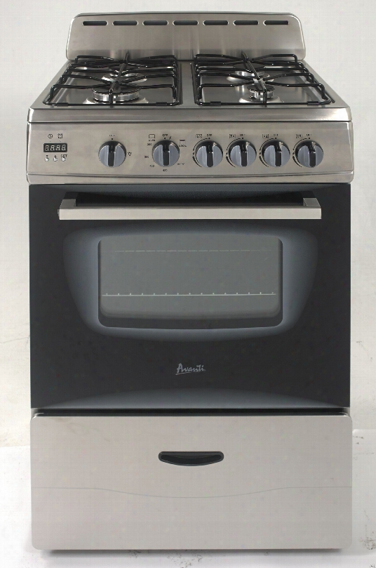 Avanti Gr2416css 24 Inch Freestanding Gas Range With 4 Sealed Burners, 2 Oven Racks, Bake, Broil, Glass Door, Interior Light, Broiling Grid And Tray, Storage Drawer, Integrated Backsplash And Ada Compliant: Stainless Steel
