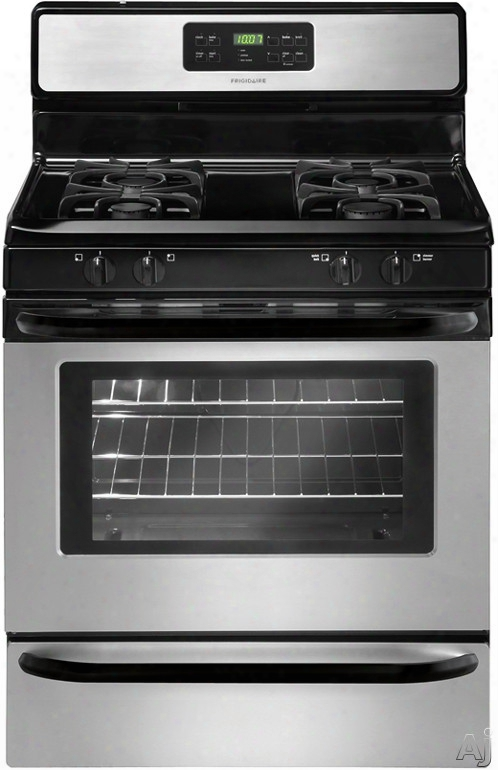Frigidaire Ffgf3023ls 30 Inch Freestanding Gas Range With Quick Boil Burner, Low-simmer Burner, Self-clean, 4 Sealed Burners, 5.0 Cu. Ft. Oven, Ready-select Controls And Storage Drawer: Stainless Steel