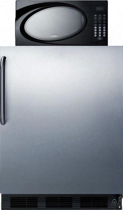 Summit Mrf663bsstb 24 Inch Compact Refrigeratorw Ith 5.1 Cu. Ft. Capacity, Zero-degree Freezer Section, 700 Watt Microwave, Adjustable Glass Shelves, Produce Drawer, 3 Door Bins, Iwne Rack And Interior Lighting: Stainless Steel