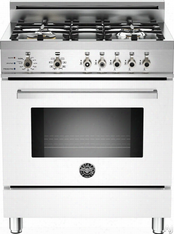 Bertazzoni Professional Series Pro304dfsbi 30 Inch Pro-style Dual Fuel Range With 4 Sealed Brass Burners, 3.4 Cu. Ft. Convection Oven, Self-clean, Infrared Broiler And Telescopic Glide Shelf: White, Natural Gas