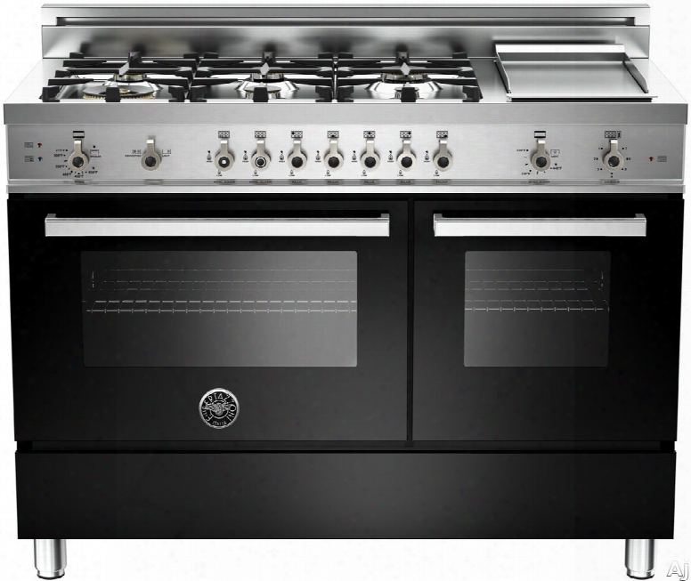 Bertazzoni Professional Series Pro486ggasne 48 Inch Pro-style Gas Range With 6 Sealed Brass Burners, 3.6 Cu. Ft. Main Convection Oven, Manual Clean, Electric Griddle And Storage Compartment: Black, Natural Gas