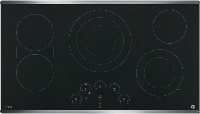 """Ge Profile Pp9036 36 Inch Electric Cooktop With 5 Radiant Elements, Bridge Element Syncburners, 6""""/9""""/12 Inch Tri-ring Element, 5""""/8 Inch Power Boil Element, Red Led Touch Controls, Ada Compliant And Ge Fits! Guarantee"""