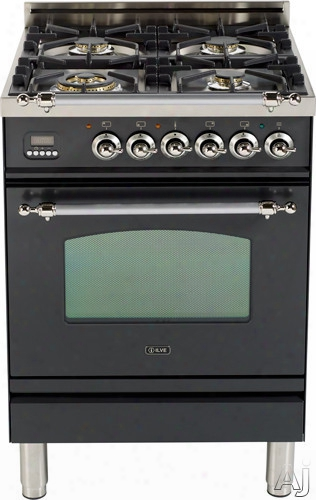 Ilve Nostalgie Collection Upn60dvggm 24 Inch Freestanding Gas Range With 4 Semi-sealed Burners, European Convection, Heat-insulated Door, Multi-gas Burners, Flame Failure Safety Device, Warming Drawer And Brass Trim: Matte Black