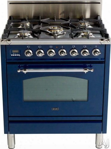 Ilve Nostalgie Collection Upn766dvggbl 30 Inch Professional-style Gas Range With 5 Semi-sealed Burners, European Convection, Rotisserie, Flame Failure Safety Device, Heat Insulated Door And Full Width Warming Drawer: Midnight  Blue, Brass Trim