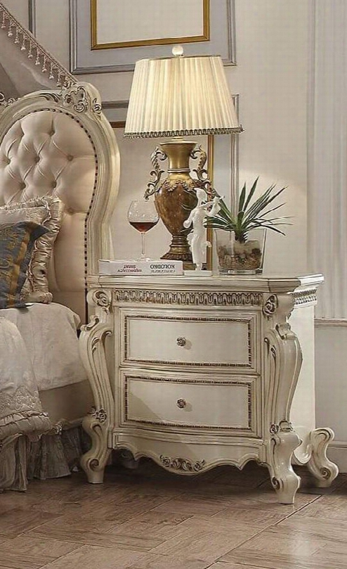 "Picardy Collection 26883 31"" Nightstand With 2 Drawers Metal Hardware Raised Scrolled Trim Poplar And Aspen Wood Construction In Antique Pearl"