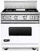 Viking Professional 7 Series VGR73614GWH 36 Inch Gas Range with Convection, ViChrome Griddle, Simmer Burners, 5.1 cu. ft. Oven, 4 Sealed Burners, Star-K Certified, Easy Clean Porcelain Interior and Dishwasher-Safe Knobs, Grates and Burner Caps: White, Nat
