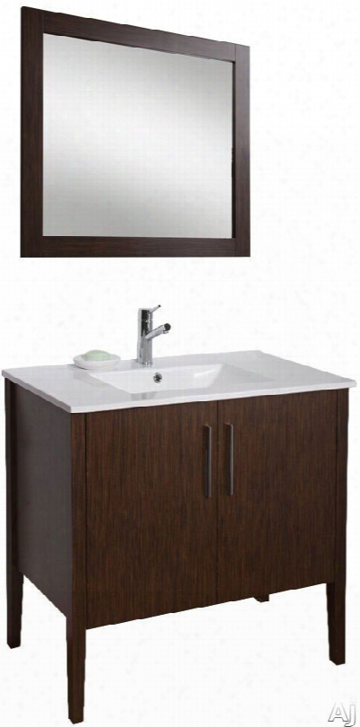 Vigo Industries Maxine Collection Vg09041 36 Inch Contemporary Vanity With Soft Close Cabinet Doors, White Ceramic Single-hole Sink, Matching Mirror, Chrome Finished Handles And One Concealed Shelf