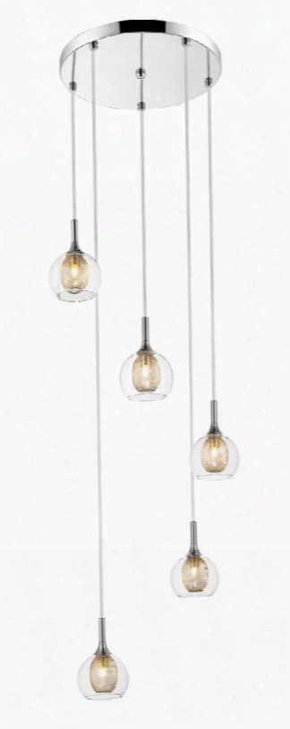 "Auge 905-5 15.75"" 5 Lightp Endant Modern Retrohave Steel Frame With Chrome Finish In Clear And"
