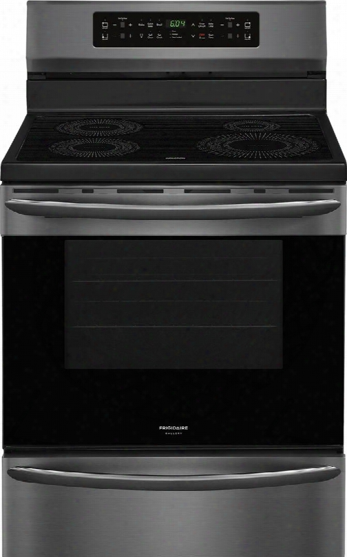 """Fgif3036td 30"""" Freestanding Induction Range With Smudge Proof Stainless Steel Incandescent Lighting 2 Standard Racks 4 Burners In Black Stainless"""