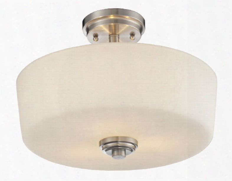 "Lamina 226sf 14.375"" 3 Light Semi-flush Mount Transitional Fusionhave Steel Frame With Brushed Nickel Finish In Matte"