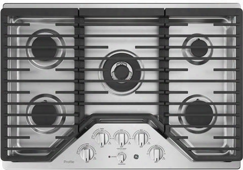 "Pgp9030slss 30"" Built In Gas Cooktop With 18000 Btu Tri-ring Burner White Led Backlit Heavy-duty Knobs Control Lock Capability And Precise Simmer Burner In"