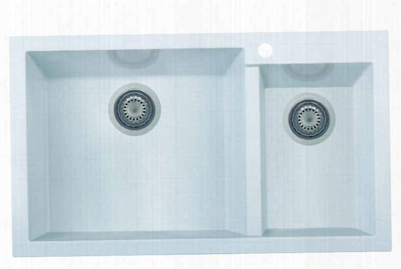 """Ab3319di-w 34"""" Do Uble Bowl Kitchen Sink With Granite Composite Drop-in Installation Hardware And One Pre-drilled Faucet Hole In"""