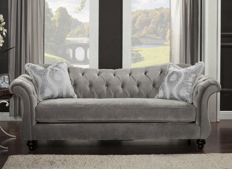 "Antoinette Collection Sm2225-sf 96"" Sofa With Rolled Arms Reverse Camelback Design And Deep Tufting In Dolphin"