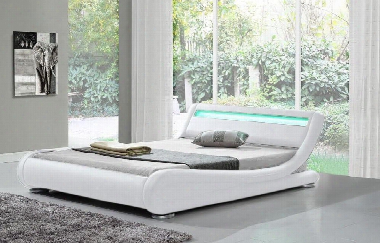 """Edgewater Collection Sf-808-k-w 91"""" Modern King Bed With Led Lights Low Profile And Leatherette Upholstery In"""