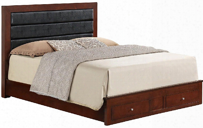G2400c-qsb Queen Size Panel Bed With 2 Dovetailed Drawers Metal Knobs And Wood Veneers Construction In Cherry