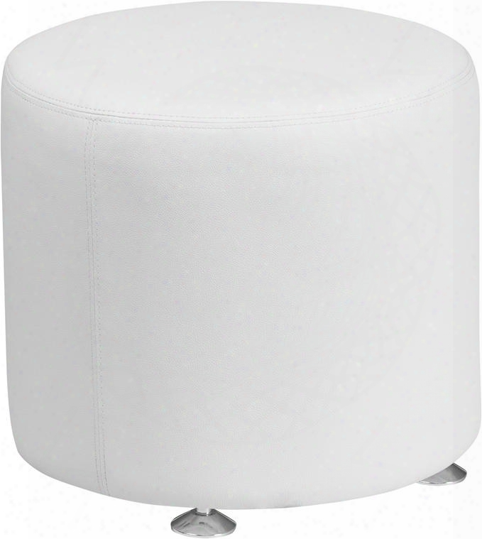 "Hercules Alon Collection Zb-803-rd-18-wh-gg 18"" Ottoman With Foam Filled Cushion Floor Glides Round Shape Line Stitching And Leathersoft Upholstery In White"