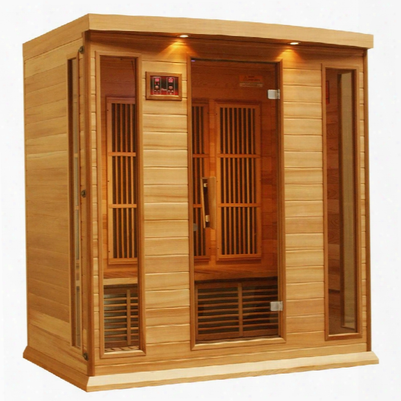 "Mx-k406-01-redcedar 75"" Low Emf Far Infrared Sauna With 4 Person Capacity 9 Acrbon Heating Elements Chromotherapy Lighting Led Control Panels Sd Card Slot"