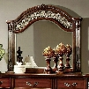 "Flandreau Collection CM7587M 45"" x 41"" Mirror with Beveled Edges Decorative Carvings and Solid Wood and Wood Veneers Frame Construction in Brown Cherry"