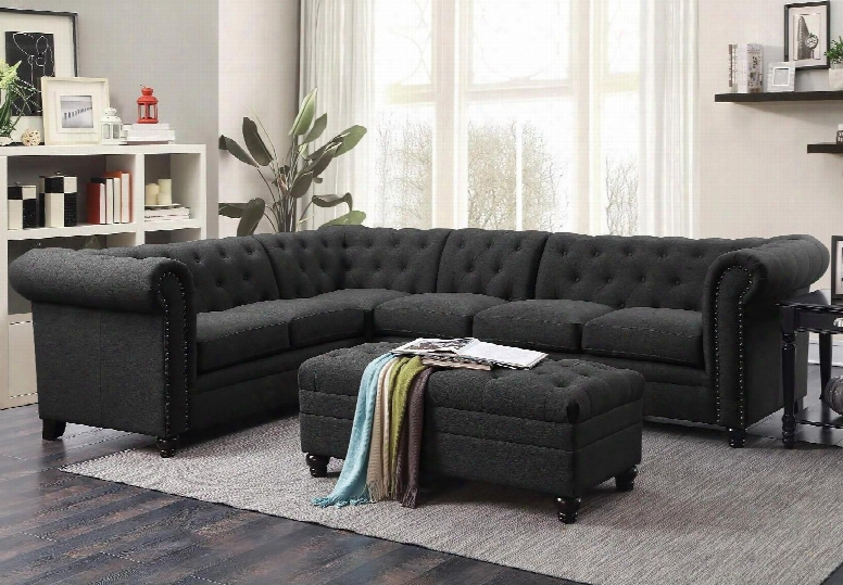 """Roy Collection 500292+500292ac 120"""" Stationary Sectional With Armless Chair Bun Feet Linen Blend Fabric Upholstery Rolled Arms And Button Tufting In"""
