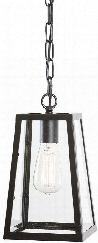 Serendipity Collection Ls-c113 6.5&qu Ot; Pendant Lamp With Angular Shade Clear Glass Panels Fully Dimmable Led Light Compatible And Iron Construction In Matte