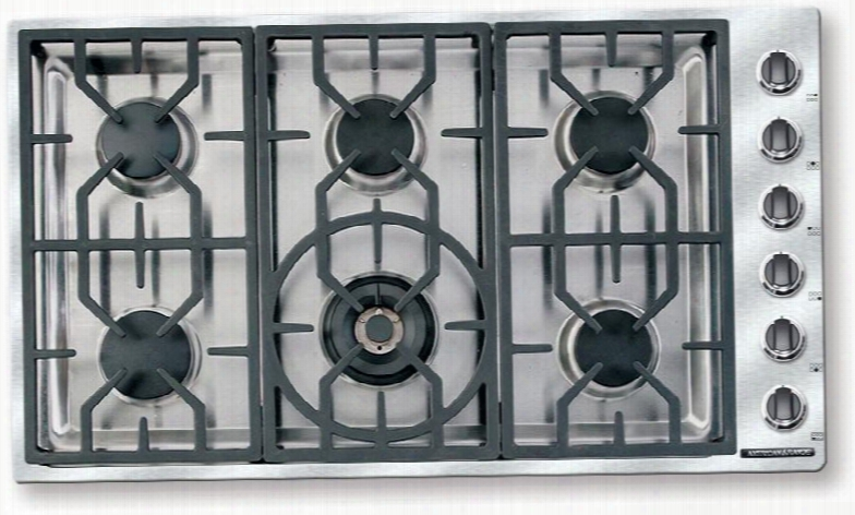 """Ardct366n 36"""" Vitesse Natural Gas Cooktop With 6 Sealed Burners 500 Btu's Simmer Setting Brass Burner Heads Porcelain Burner Caps Automatic Electronic"""