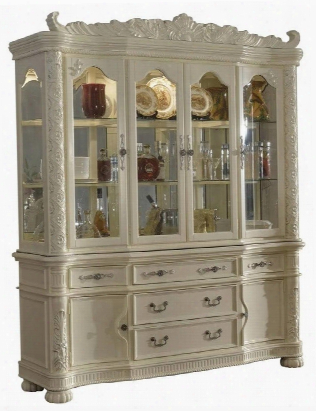 "Madrid 702-hb 77"" Hutch & Buffet With Glass Doors & Shelves Carved Detailing And Under-cabinet Lighting In Rich Pearl White"
