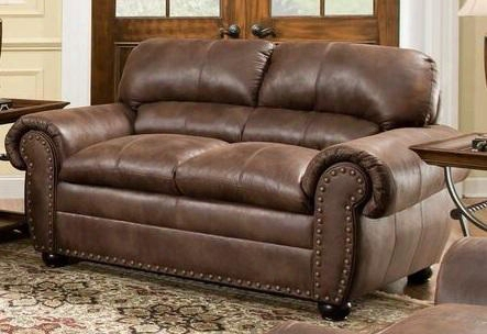 "Padre 7510-02 70"" Loveseat With Split Back Cushion Rolled Arms Nail Head Accents And Bun Feet In"