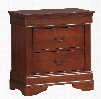 """Louis Philippe 200432R 25.25"""" 2-Drawer Nightstand with Antique Brass Metal Handles Dovetailed Drawers and Kenlin Drawer Glides in Cherry"""