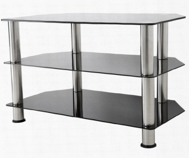 "Sdc800-a 31.5"" Tv Stand With Angled Corners Stainlese Steel Legs Tempered Glass Top And Shelves In Chrome And Black"