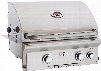 """American Outdoor Grill 24NBL 24 Inch Built-in Gas Grill with 432 sq. in. Cooking Surface, 2 16,000-BTU Primary Burners, Analog Thermometer and Stainless Steel Construction: Natural Gas, """"L"""" Series, Backburner Rotisserie"""