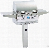 Fire Magic Aurora Collection A430S6E1NG6 24 Inch Freestanding Gas Grill with 432 sq. in. Cooking Surface, 50,000 BTU, 13,000 BTU Backburner, Interior Halogen Lights and Hot Surface Ignition: Natural Gas, Ground Post with Rotisserie