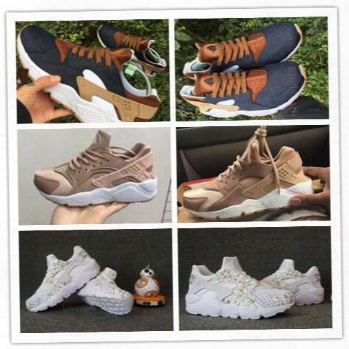 High Quality Ultra Huarache Id Navy Blue Running Shoes 2017 Men Women Sports Huraches Sneaker Athletic Trainers Denim White Brown Gold 36-45