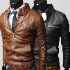 Hot Sale! Winter Jackets For Men Outdoor PU Brown Black Fall Winter Spring long Motorcycle Soft Shell leather sleeve denim Mens Jackets