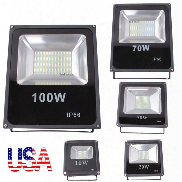 Stock In Us + 10w 20w 30w 50w 100w Outdoor Led Floodlights Waterproof Ip65 Led Flood Lights Wall Pack Lamp Ac 85-265v Free Shipping