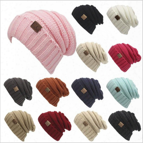 Cc Knitted Hays Cc Trendy Winter Beanie Warm Oversized Chunky Skull Caps Soft Cable Knit Slouchy Crochet Hats Fashion Outdoor Hats B2360
