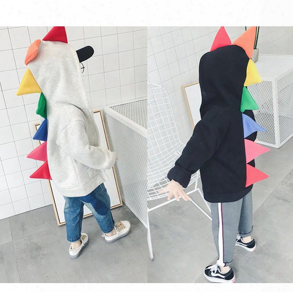 Ins Kids Dinosaur Hoodies Colorful Autumn Winter Children's Boys Girls Unisex Baby Coats Outdoor Sport Jackets Outfits 0-5t