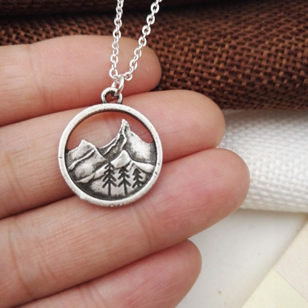 1pcs Lovely Round Pendant Pine Tree Charm Under The Mountain Necklace Camping Jewelry Outdoor Jewelry Gifts For Campers