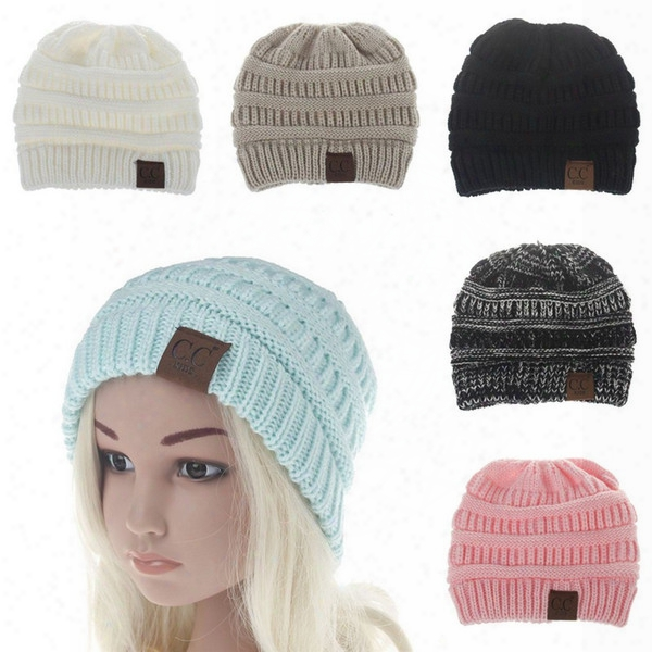 Baby Boys Girls Winter Warm Cc Laebl Knitted Hats Crochet Fashion Beanies Children Outdoor Wool Caps