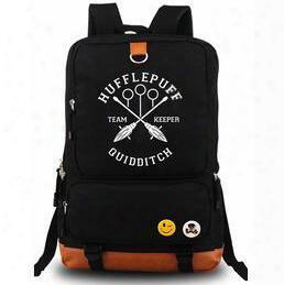 Black Quidditch Backpack Harry Potter Daypack Hufflepuff Institute Blue Schoolbag Quality Rucksack Sport School Bag Outdoor Day Pack