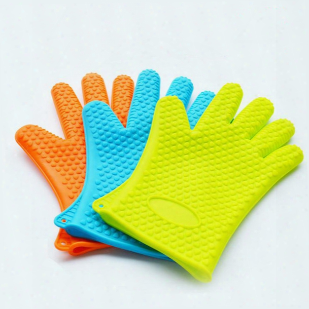 Food Grade Heat Resistant Thick Silicone Kitchen Barbecue Oven Glove Cooking Bbq Grill Glove Oven Mitt Baking Glove C056
